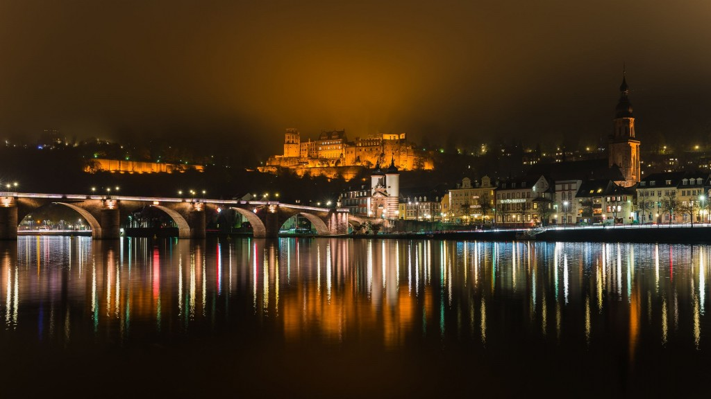 Heidelberg's old city, the castle and the Neckar river at night