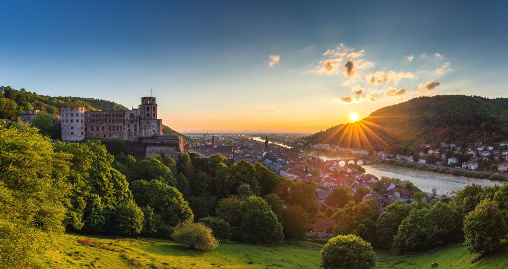 Heidelberg town with the famous old bridge and Heidelberg castle